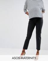Asos Straight Leg Jean in Thames Dark Stonewash Blue With Under The Bump Waistband