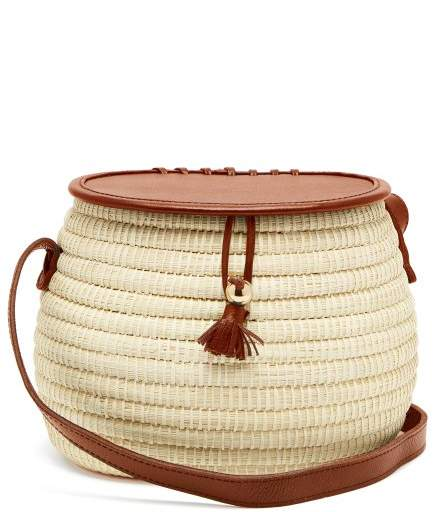 Sensi Studio - Leather And Toquilla Straw Basket Bag - Womens - Tan Multi