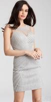 Jovani Sheer Linear Rhinestone Embellished Homecoming Dress
