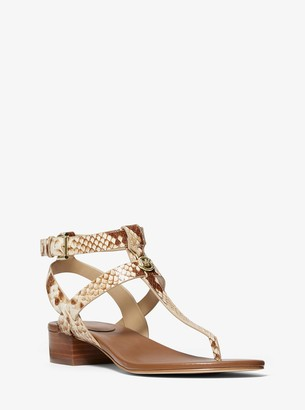 MICHAEL Michael Kors Sasha Python Embossed Leather Sandal