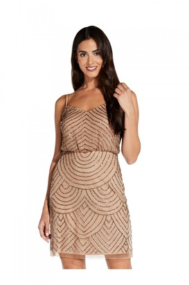 Adrianna Papell Blouson Bead Dress In Taupe/Pink