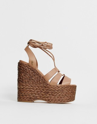 Kurt Geiger London Nova High Leather wedge espadrille Sandal-Beige