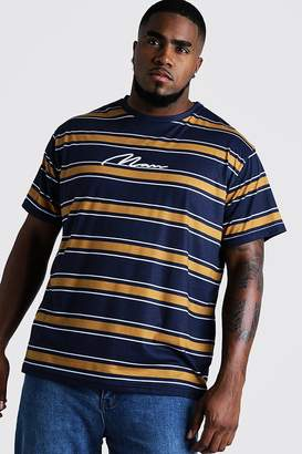 boohoo Big & Tall Stripe T-Shirt With MAN Embroidery