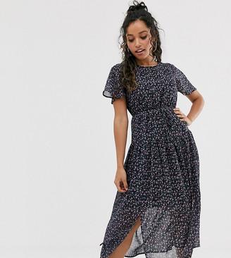 Fashion Union Petite drop hem midi dress in black floral-Multi