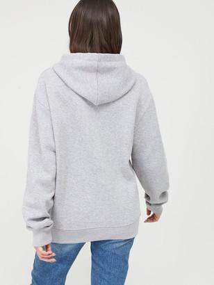 boohoo Embroidered Oversize Hoodie - Grey Marl