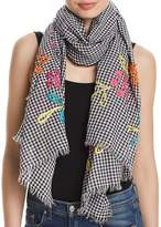 Fraas Embroidered Gingham Oblong Scarf