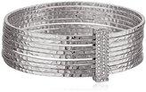 Jessica Simpson Hammered Stacked Rhodium Bangle Bracelet