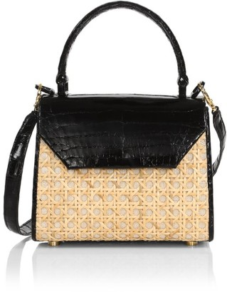 Nancy Gonzalez Mini Lily Crocodile & Woven Straw Top Handle Bag