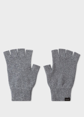 Men's Grey Cashmere And Merino Wool Fingerless Gloves