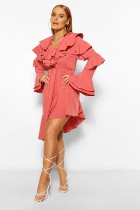 boohoo Asymetric Ruffle Detail Midi Dress