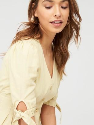 Very Tie Sleeve Linen Button Through Mini Dress