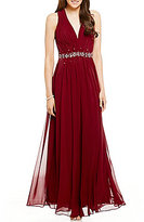B. Darlin Deep V-Neck Pleated Beaded Bodice Long A-line Dress