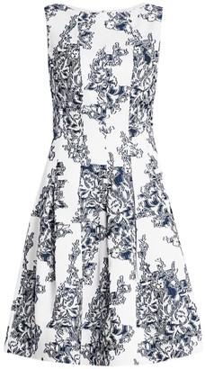 Oscar de la Renta Sleeveless Floral Fit-&-Flare Dress