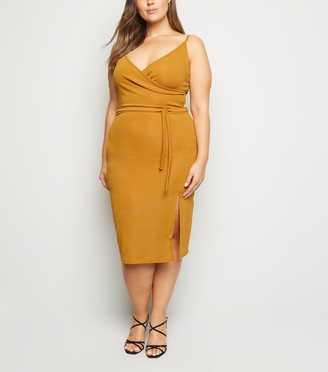 New Look Just Curvy Ribbed Wrap Dress