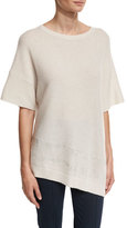St. John Cashmere Bateau-Neck Half-Sleeve Sweater, Oyster