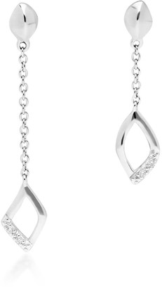 Gemondo Asymmetric Diamond Pave Dangle Earrings In White Gold