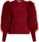 Sonia Rykiel Fur-sleeve crew-neck sweater