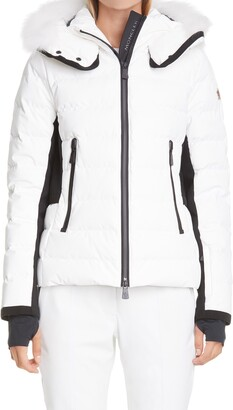 Moncler Lamoura Waterproof Quilted Down Puffer Coat with Removable Genuine Fox Fur Trim