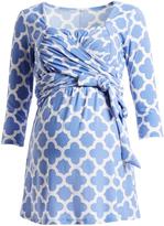 Glam Blue & White Lattice Maternity Wrap Tunic