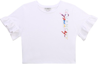 Givenchy Girl's Embroidered-Logo Flutter-Sleeve Shirt, Size 4-10