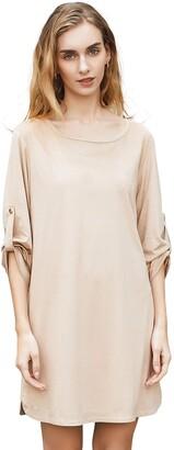 Relish Noless 1/2 Sleeve Casual Faux Suede Shirt Women Oversized Button Long Shirt Women Spring Knee Length Suede Dress Women Slit Pocket-XXL Beige