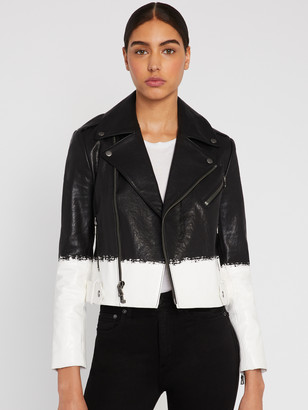Alice + Olivia CODY LEATHER CROPPED MOTO JACKET