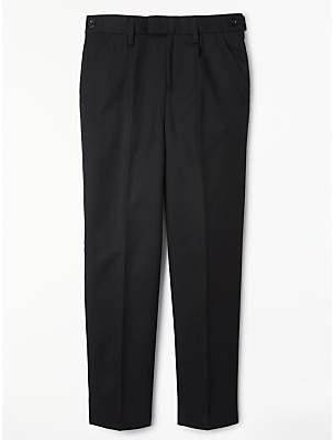 John Lewis & Partners Boys' Easy Care Adjustable Waist Tailored Fit School Trousers, Regular Length, Black