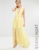 Boohoo Petite Pleated Strappy Side Maxi Dress