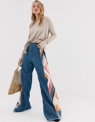 We The Free By Free People by Free People wide leg flare with patchwork detail-Navy