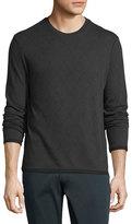 Armani Collezioni Diamond-Weave Long-Sleeve Crewneck Sweater, Gray