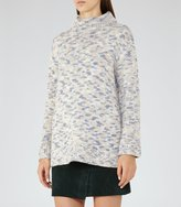 Reiss Lola - High Neck Patterned Jumper in White, Womens