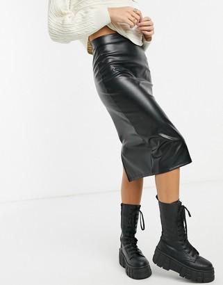 Asos Design DESIGN leather look midi skirt-Black