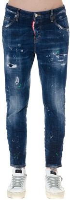 DSQUARED2 Stone Washed Teared Blue Cotton Jeans