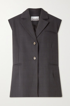 Ganni Oversized Prince Of Wales Checked Woven Vest - Charcoal