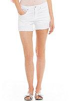 William Rast Star Embroidered Frayed Hem Cutoff Stretch Denim Shorts