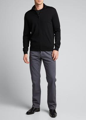 Ermenegildo Zegna Men's Solid Wool Zip-Front Sweater