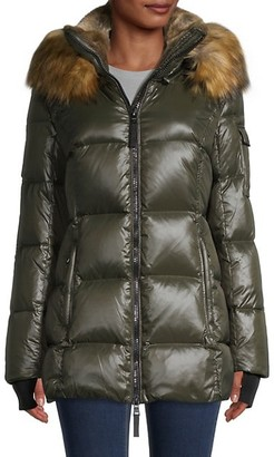 S13 Faux Fur-Trim Hooded Puffer Jacket