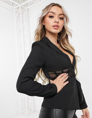 Club L London Club L tailored corset mesh blazer in black