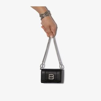 Balenciaga black Hourglass chain strap leather wallet