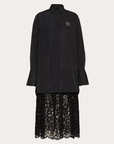 Valentino Vltnstar Micro-faille And Heavy Lace Dress Women Black/white Polyester 46% 36