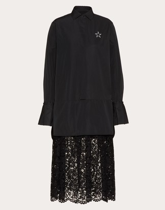 Valentino Vltnstar Micro-faille And Heavy Lace Dress Women Black/white Polyester 46% 42