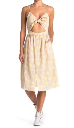 FRNCH Cutout Tie Front Midi Dress
