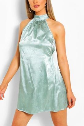 boohoo Floral Jacquard Satin Sleeveless Swing Dress