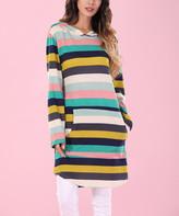 Z Avenue Women's Sweatshirts and Hoodies Multi - Aqua & Mustard Stripe Hooded Sweatshirt Tunic - Women & Plus