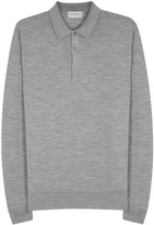John Smedley Belper Grey Fine-knit Wool Polo Shirt