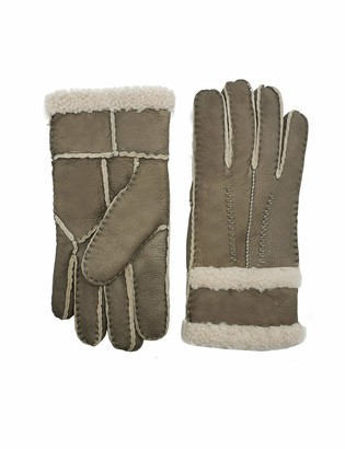 YISEVEN Women Rugged Sheepskin Shearling Leather Gloves Fluffy Cuffs Sherpa Furry Cuff Thick Wool Lined Heated Warm for Winter Cold Weather Dress Driving gift
