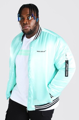boohoo Mens Green Plus Size MAN Official Satin Trim Bomber, Green
