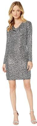 MICHAEL Michael Kors Catty Foil Cowl Back Dress (Black/Silver) Women's Dress