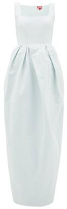 STAUD Square-neck Cotton-blend Faille Maxi Dress - Womens - Light Blue