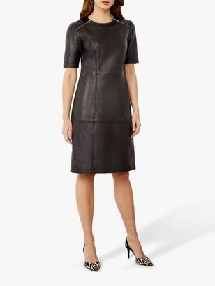 Sosandar Leather Zip Shift Knee Length Dress, Black